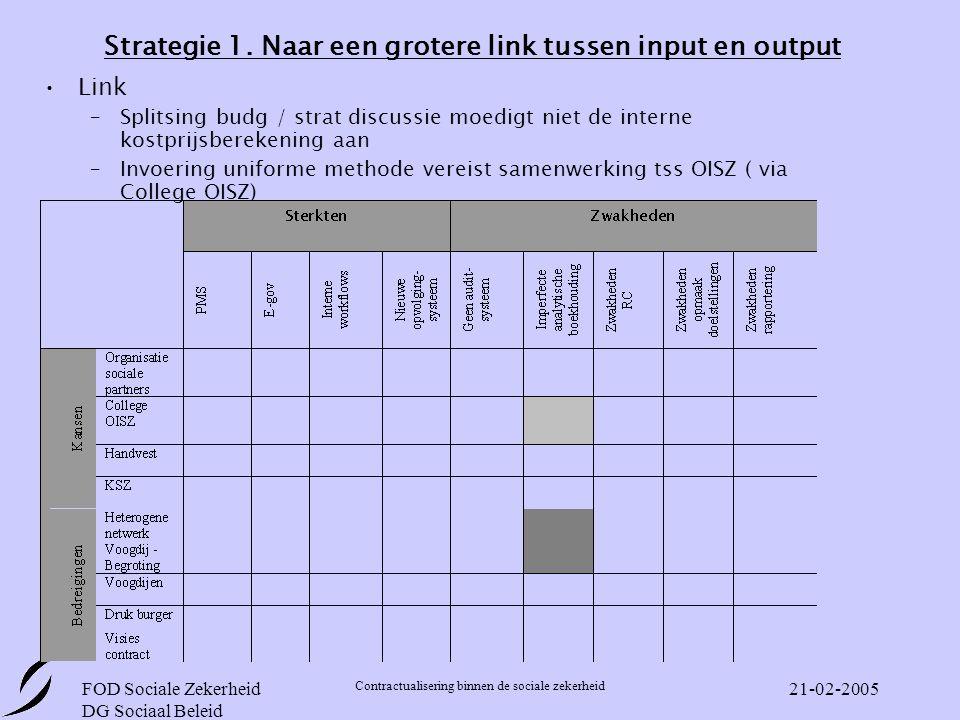 Strategie 1. Naar een grotere link tussen input en output