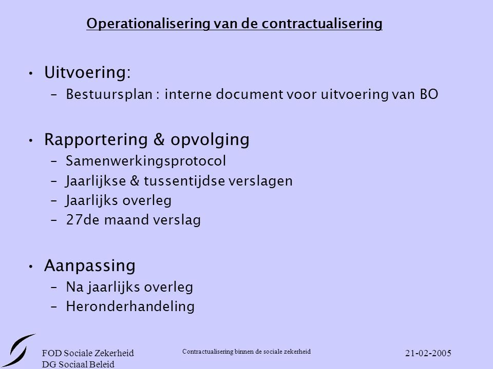 Operationalisering van de contractualisering