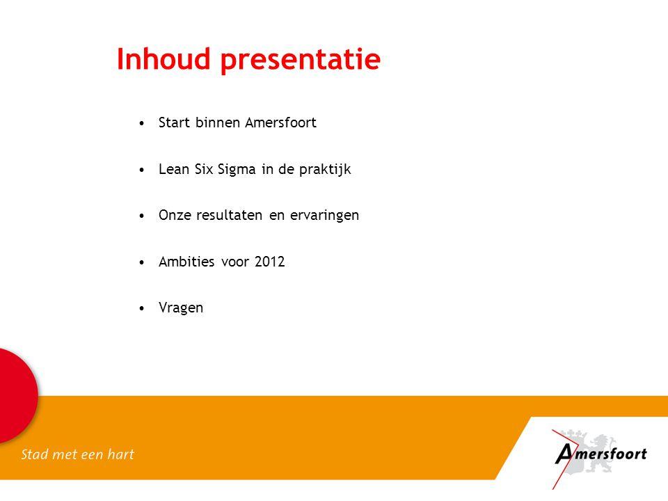 Inhoud presentatie Start binnen Amersfoort