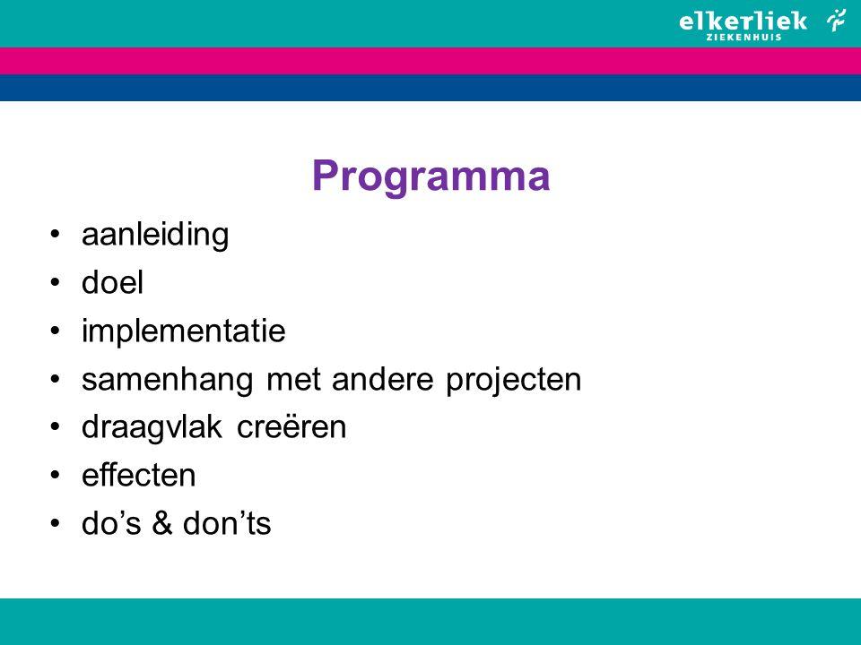 Programma aanleiding doel implementatie samenhang met andere projecten