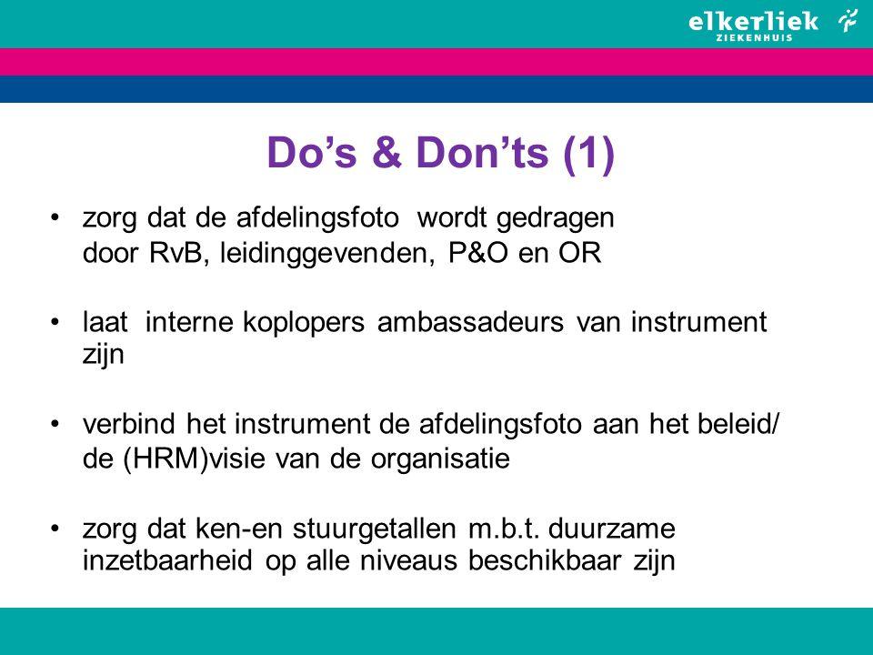 Do's & Don'ts (1) zorg dat de afdelingsfoto wordt gedragen