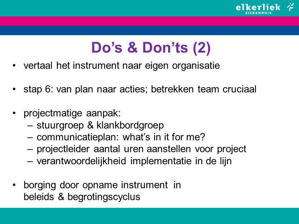 Do's & Don'ts (2) vertaal het instrument naar eigen organisatie