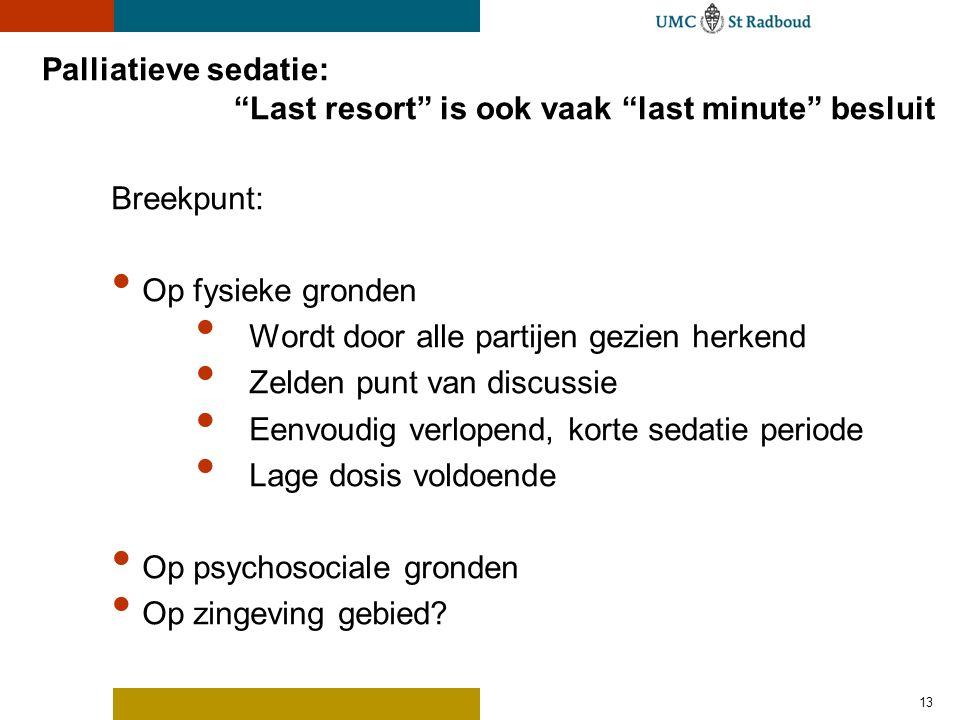 Palliatieve sedatie: Last resort is ook vaak last minute besluit