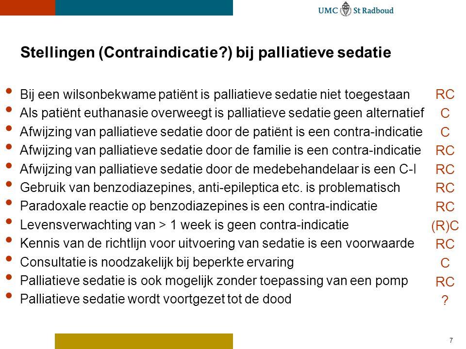 Stellingen (Contraindicatie ) bij palliatieve sedatie
