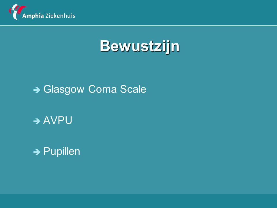 Bewustzijn Glasgow Coma Scale AVPU Pupillen