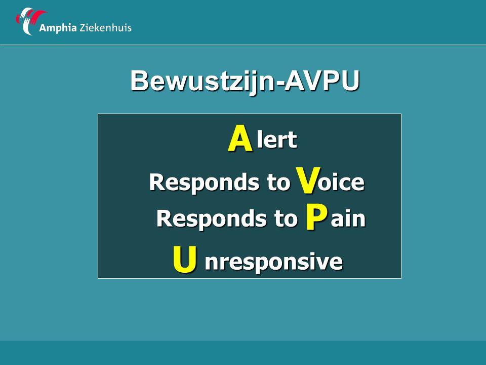 Bewustzijn-AVPU A lert V oice Responds to P ain U nresponsive 26