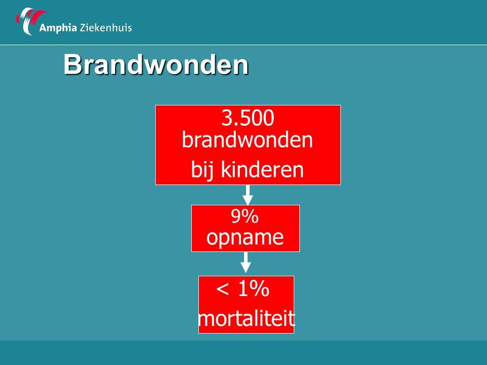 Brandwonden 3.500 brandwonden bij kinderen < 1% mortaliteit