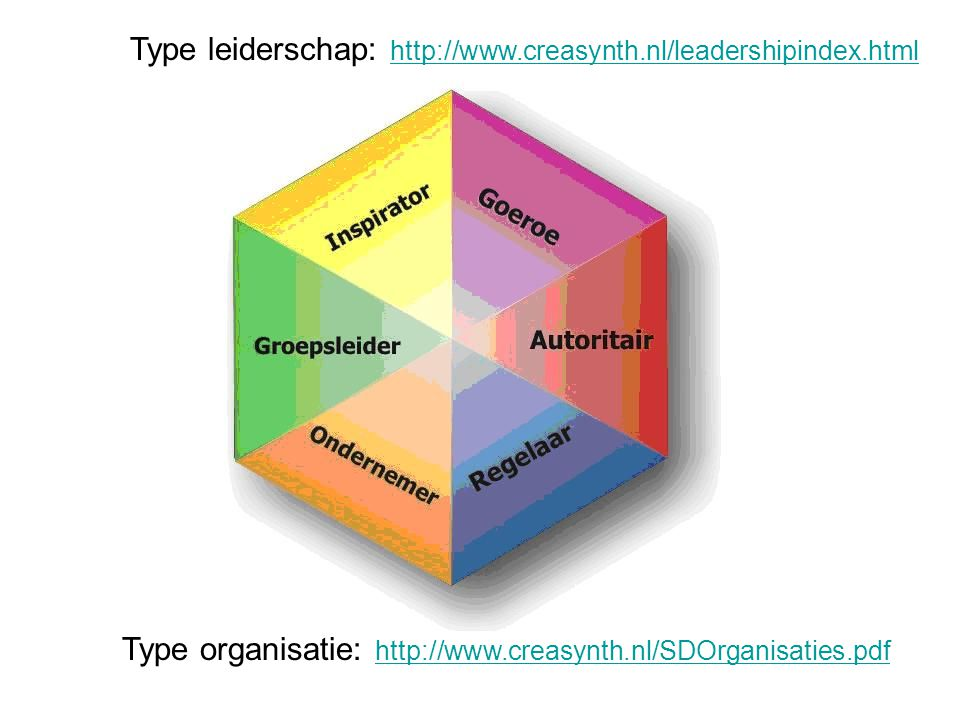 Type leiderschap: http://www.creasynth.nl/leadershipindex.html