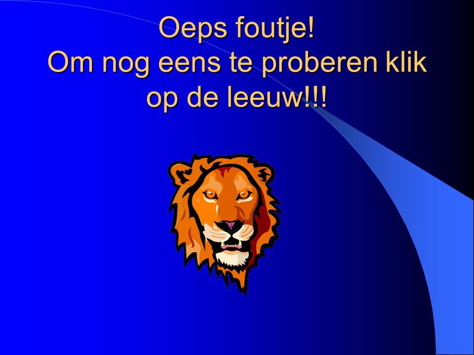 Oeps foutje! Om nog eens te proberen klik op de leeuw!!!