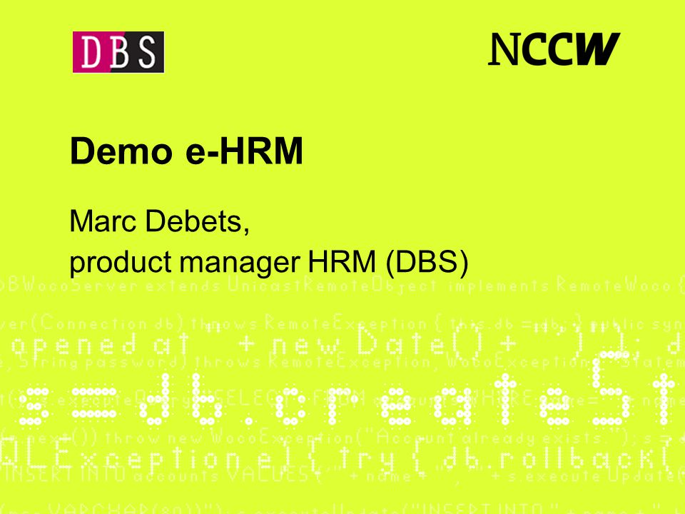 Marc Debets, product manager HRM (DBS)