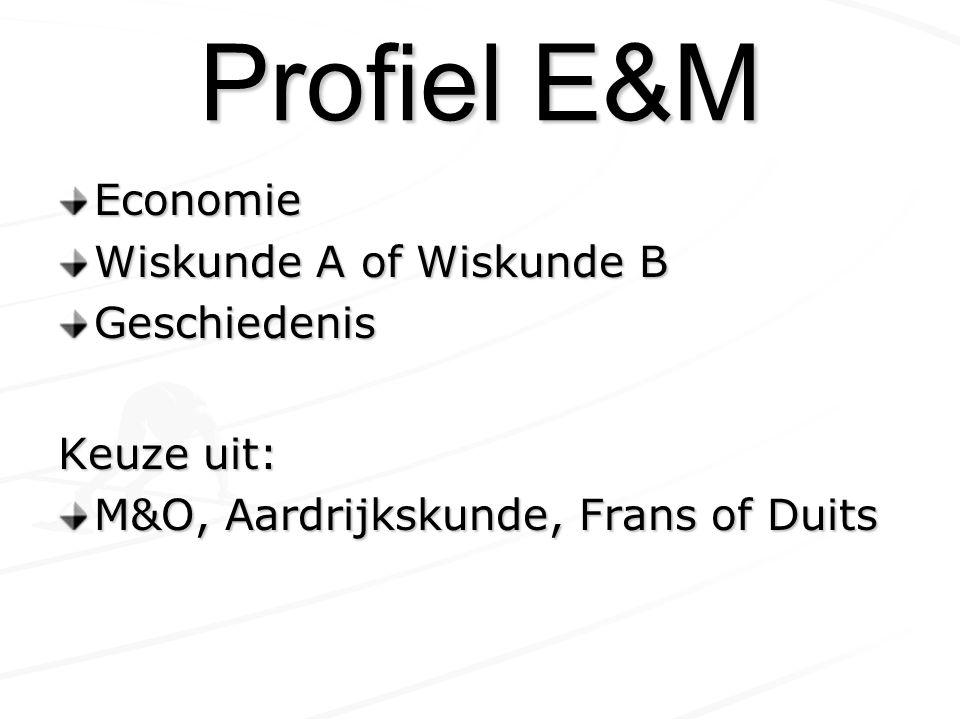 Profiel E&M Economie Wiskunde A of Wiskunde B Geschiedenis Keuze uit: