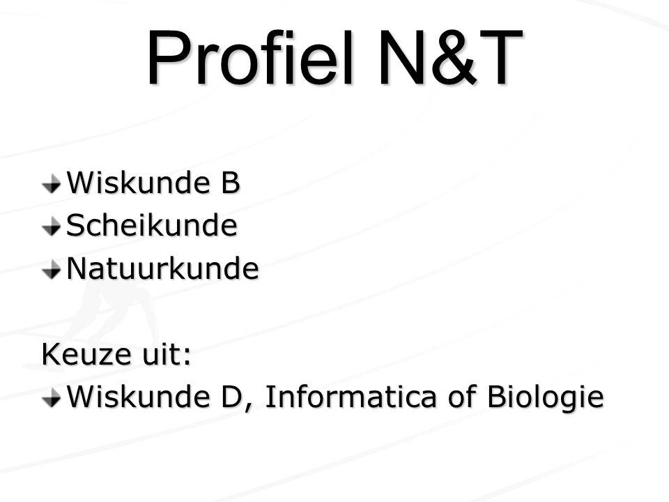 Profiel N&T Wiskunde B Scheikunde Natuurkunde Keuze uit: