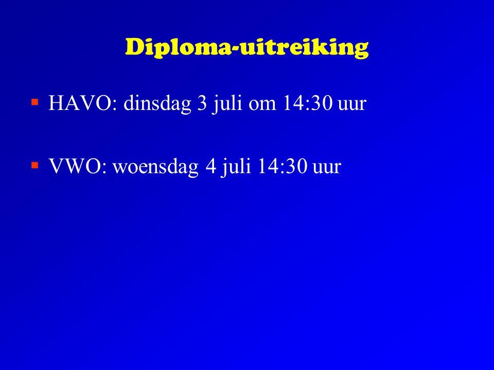 Diploma-uitreiking HAVO: dinsdag 3 juli om 14:30 uur