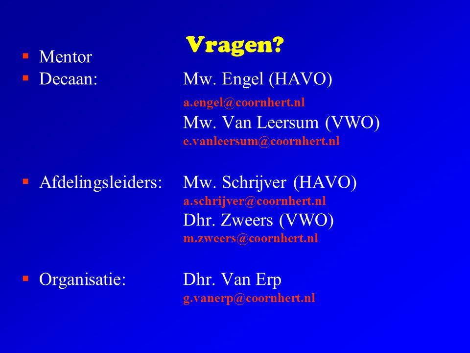 Vragen Mentor Decaan: Mw. Engel (HAVO) a.engel@coornhert.nl
