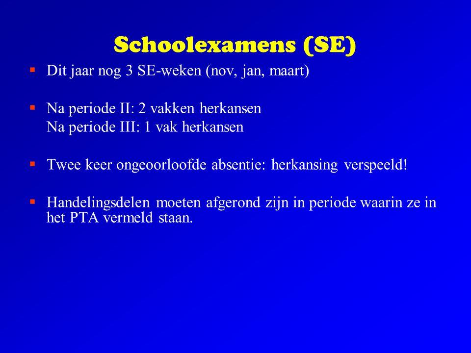 Schoolexamens (SE) Dit jaar nog 3 SE-weken (nov, jan, maart)