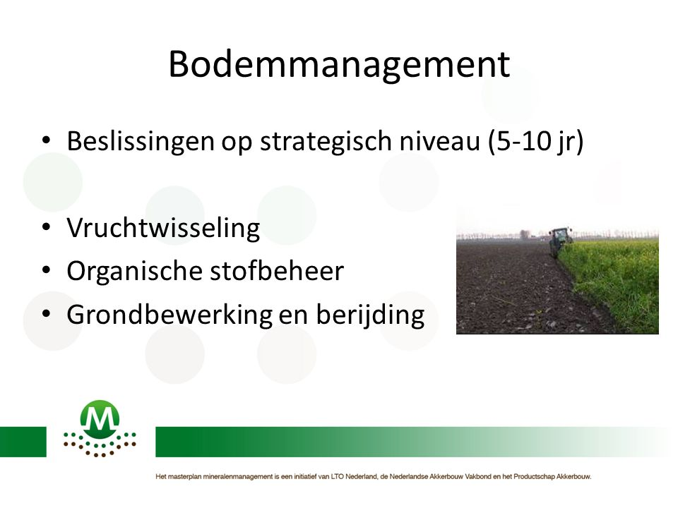 Bodemmanagement Beslissingen op strategisch niveau (5-10 jr)
