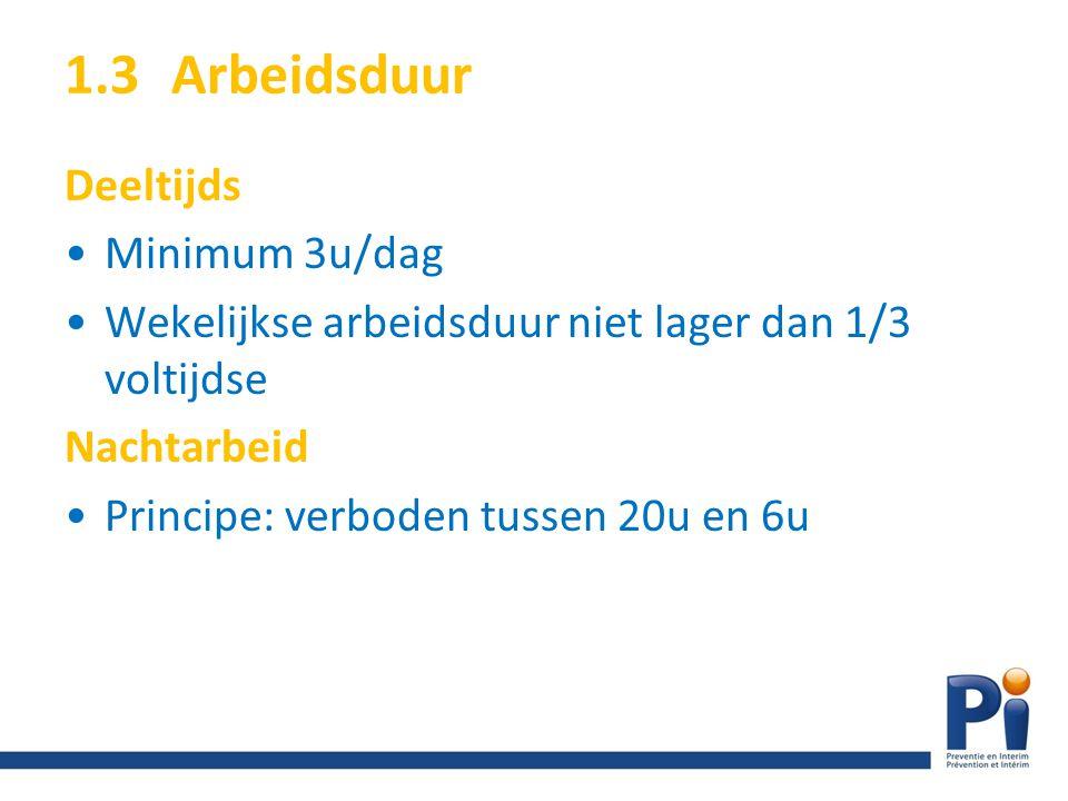 1.3 Arbeidsduur Deeltijds Minimum 3u/dag