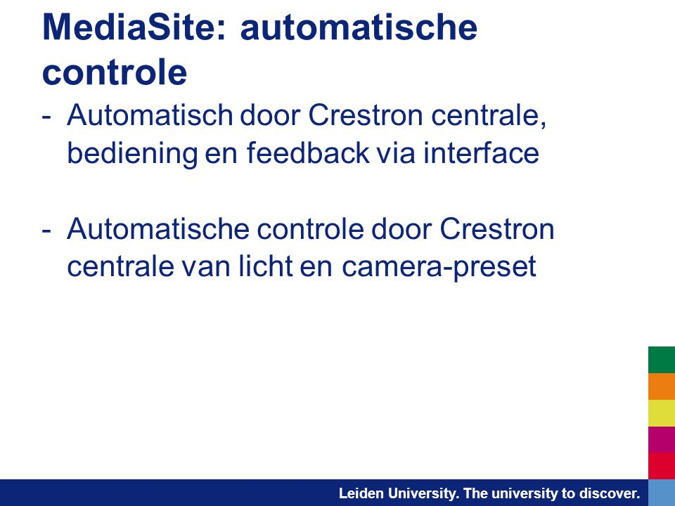 MediaSite: automatische controle