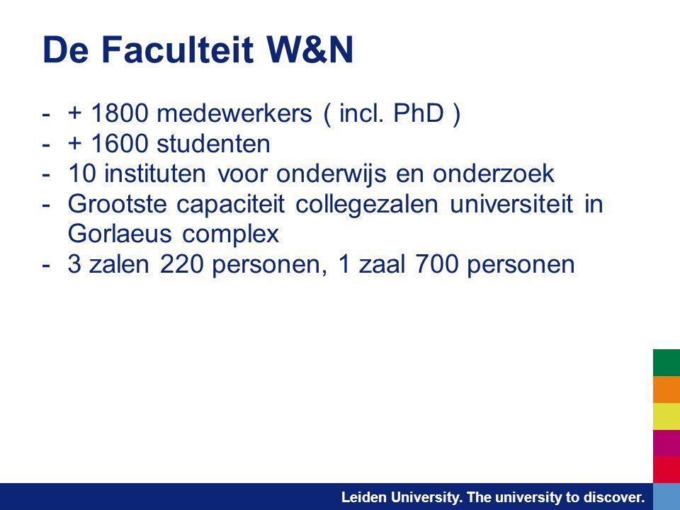 De Faculteit W&N + 1800 medewerkers ( incl. PhD ) + 1600 studenten
