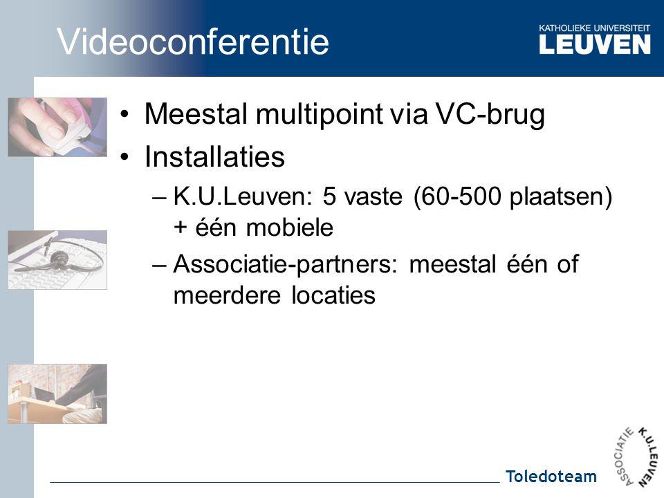 Videoconferentie Meestal multipoint via VC-brug Installaties