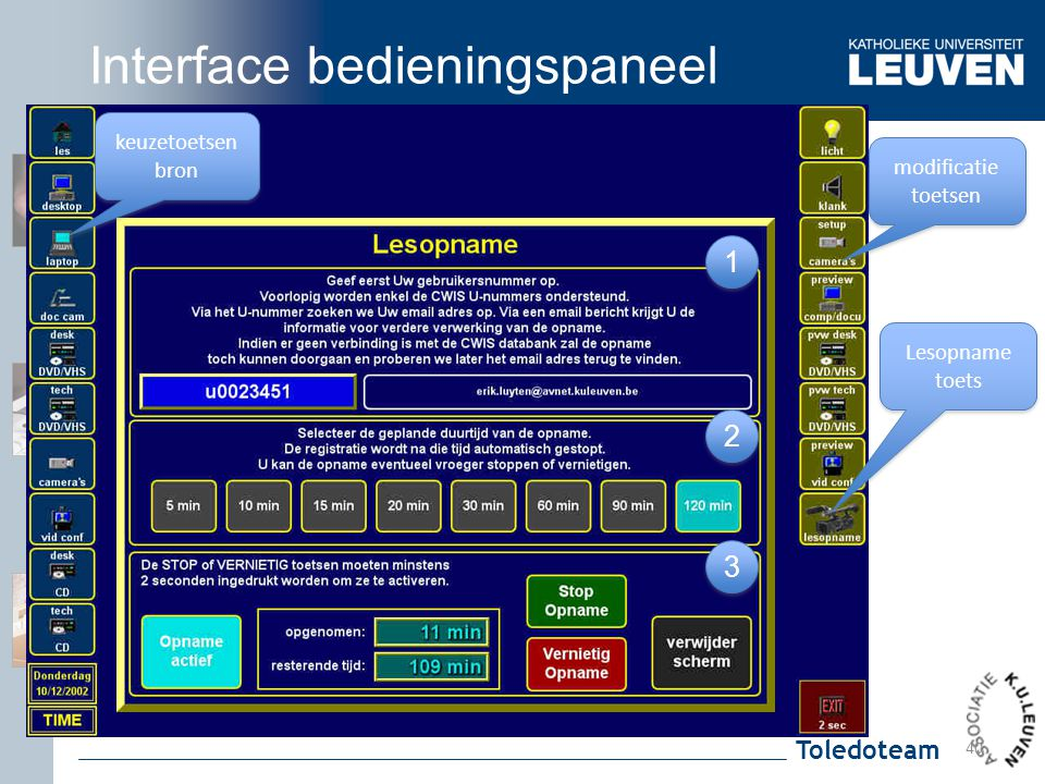 Interface bedieningspaneel