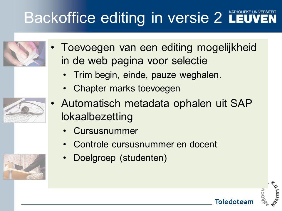 Backoffice editing in versie 2