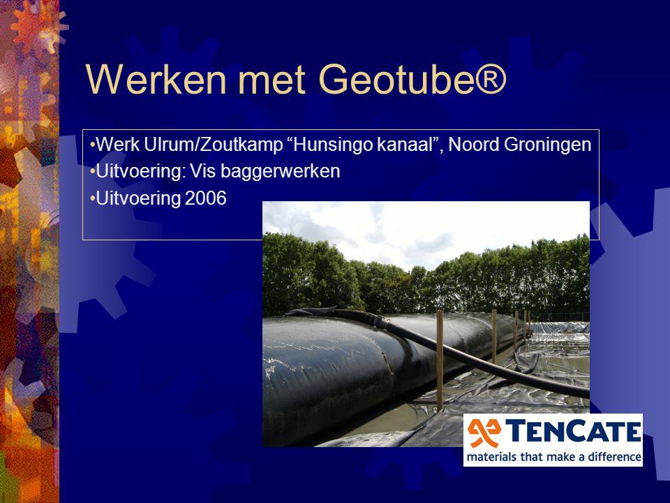 Werken met Geotube® Werk Ulrum/Zoutkamp Hunsingo kanaal , Noord Groningen. Uitvoering: Vis baggerwerken.