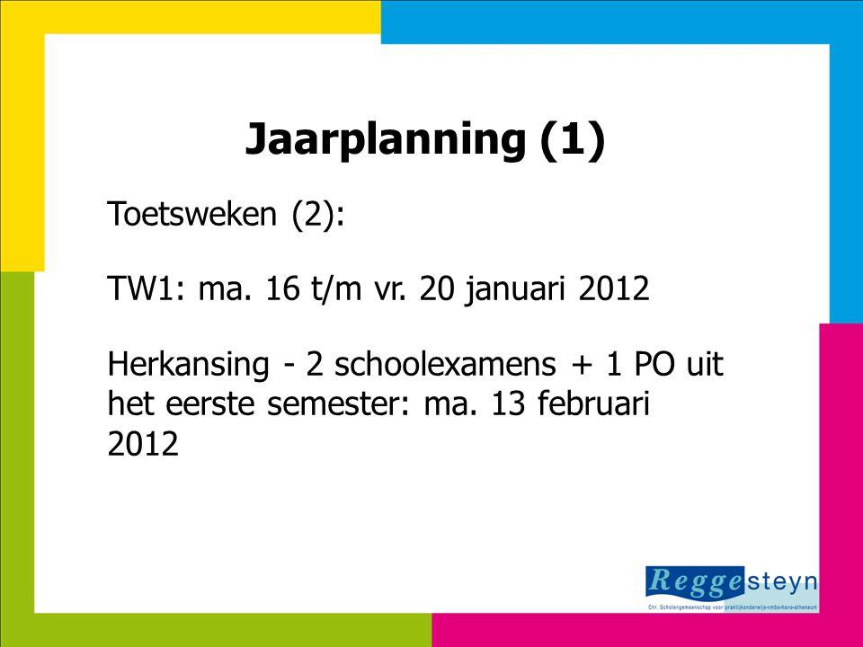 Jaarplanning (1) Toetsweken (2): TW1: ma. 16 t/m vr. 20 januari 2012