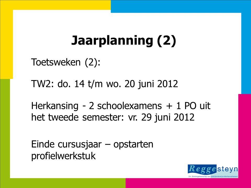 Jaarplanning (2) Toetsweken (2): TW2: do. 14 t/m wo. 20 juni 2012