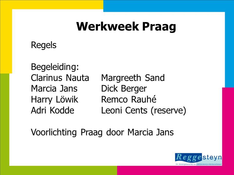 Werkweek Praag Regels Begeleiding: Clarinus Nauta Margreeth Sand