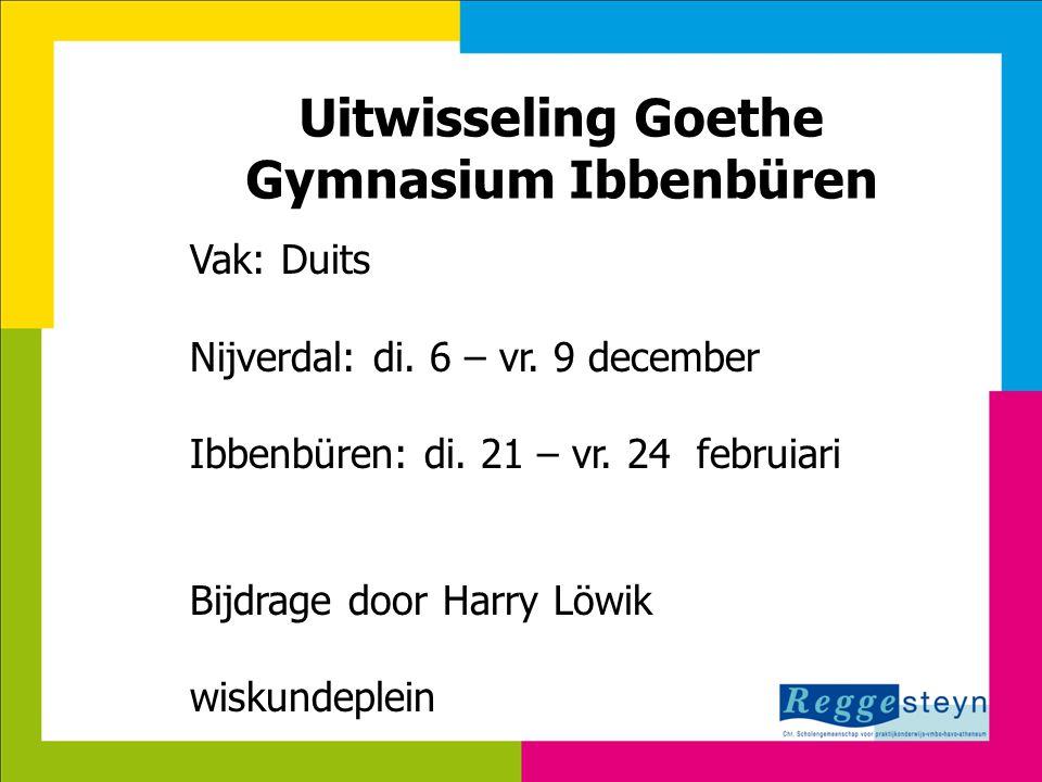 Uitwisseling Goethe Gymnasium Ibbenbüren