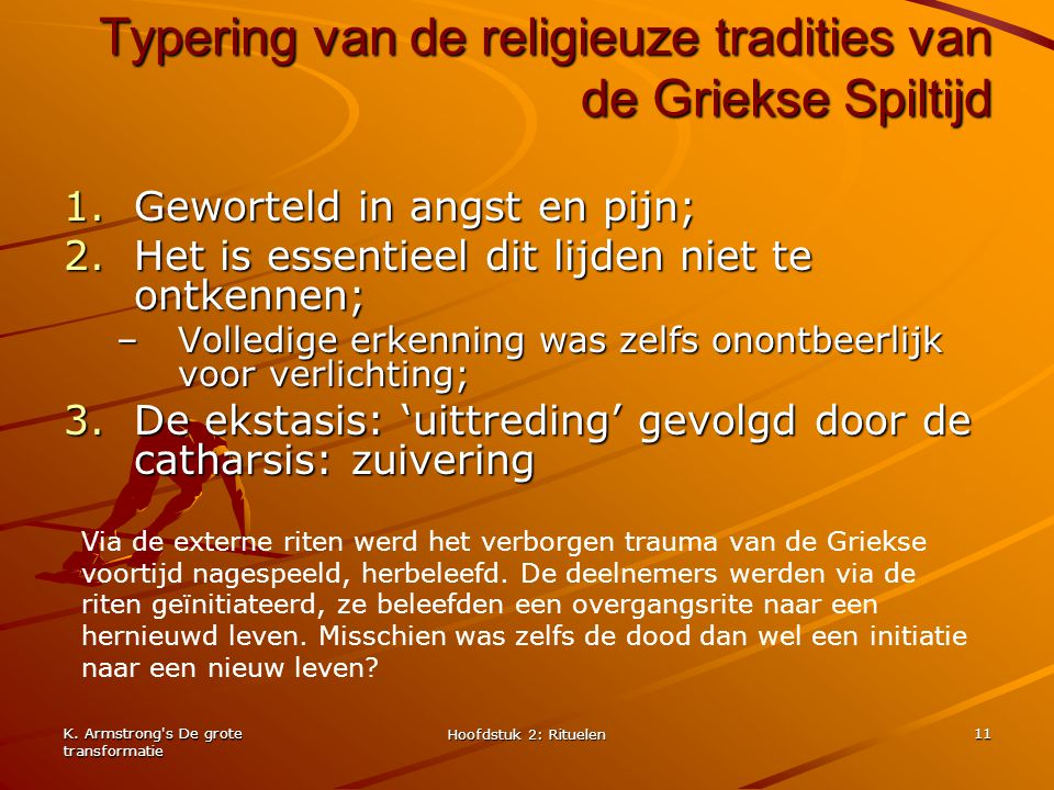 Typering van de religieuze tradities van de Griekse Spiltijd
