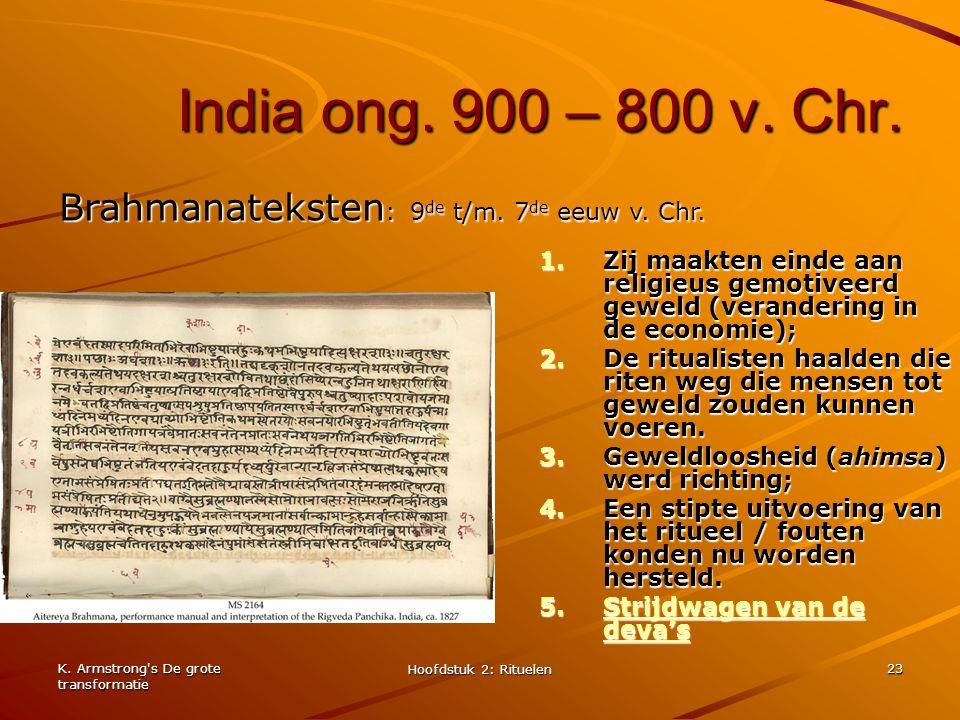 India ong. 900 – 800 v. Chr. Brahmanateksten: 9de t/m. 7de eeuw v. Chr.