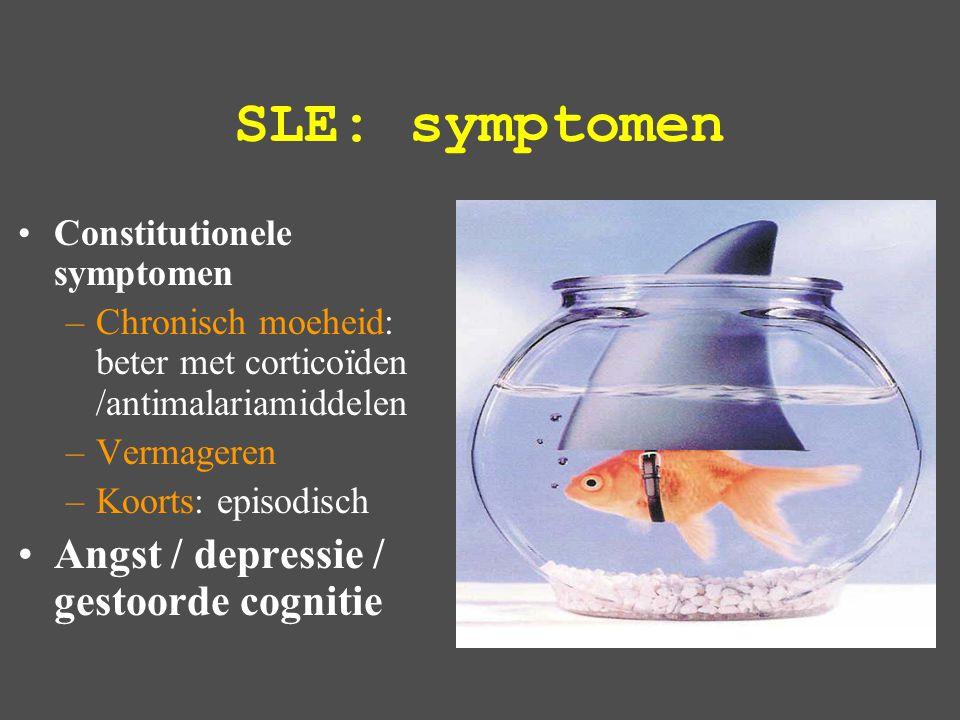 SLE: symptomen Angst / depressie / gestoorde cognitie