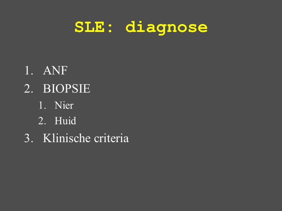 SLE: diagnose ANF BIOPSIE Klinische criteria Nier Huid