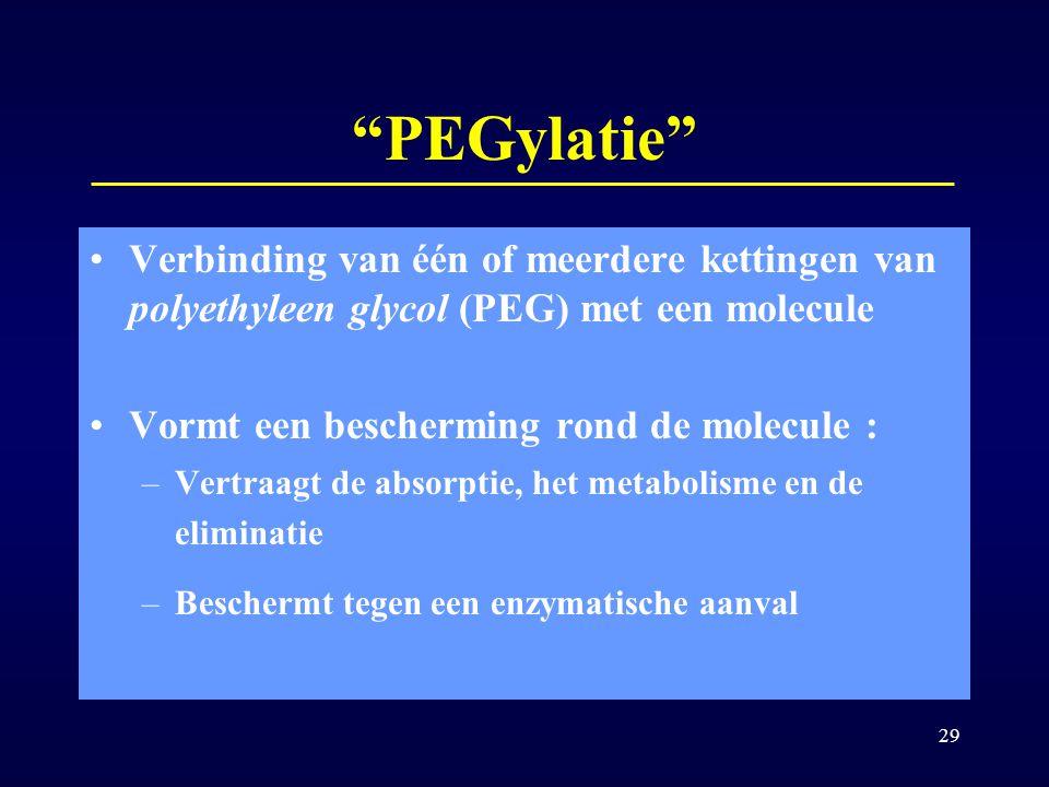 PEGylatie Verbinding van één of meerdere kettingen van polyethyleen glycol (PEG) met een molecule.