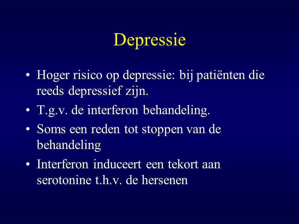 Depressie Hoger risico op depressie: bij patiënten die reeds depressief zijn. T.g.v. de interferon behandeling.