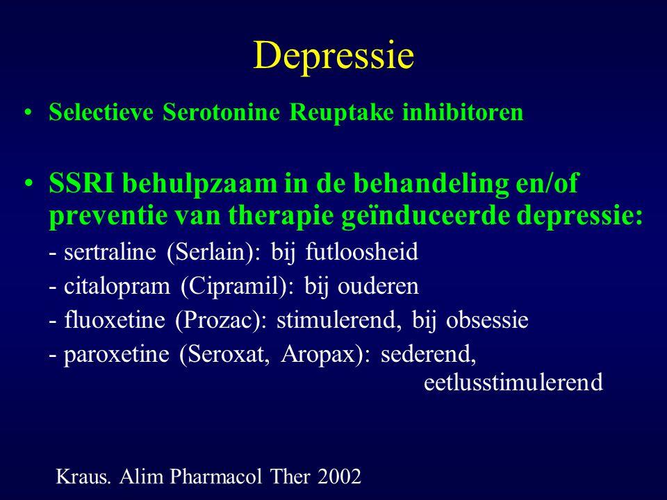 Depressie Selectieve Serotonine Reuptake inhibitoren. SSRI behulpzaam in de behandeling en/of preventie van therapie geïnduceerde depressie: