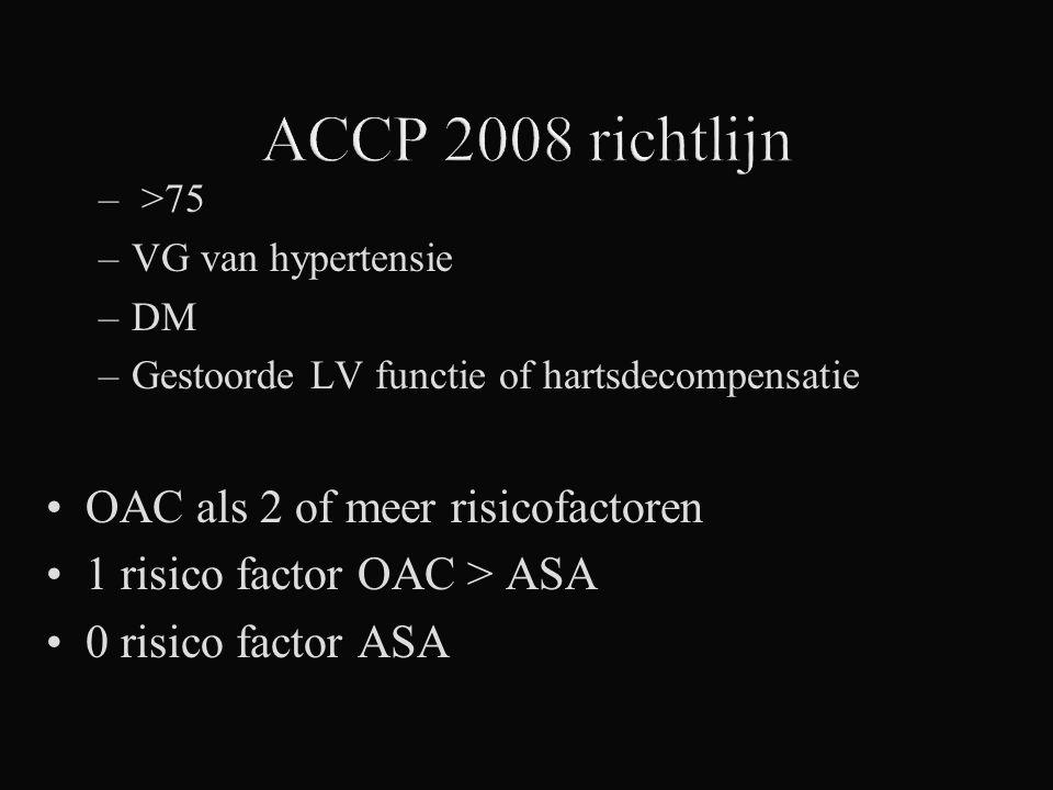 ACCP 2008 richtlijn OAC als 2 of meer risicofactoren