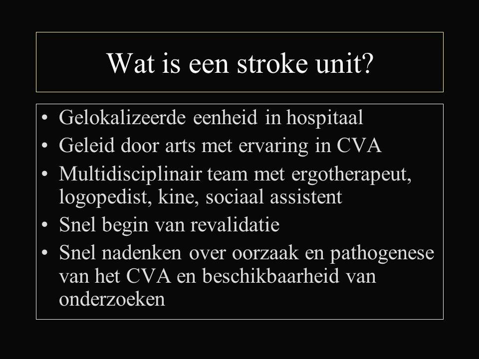 Wat is een stroke unit Gelokalizeerde eenheid in hospitaal