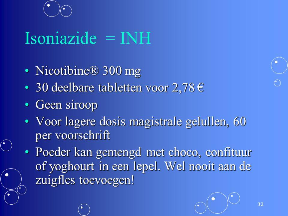 Isoniazide = INH Nicotibine® 300 mg 30 deelbare tabletten voor 2,78 €