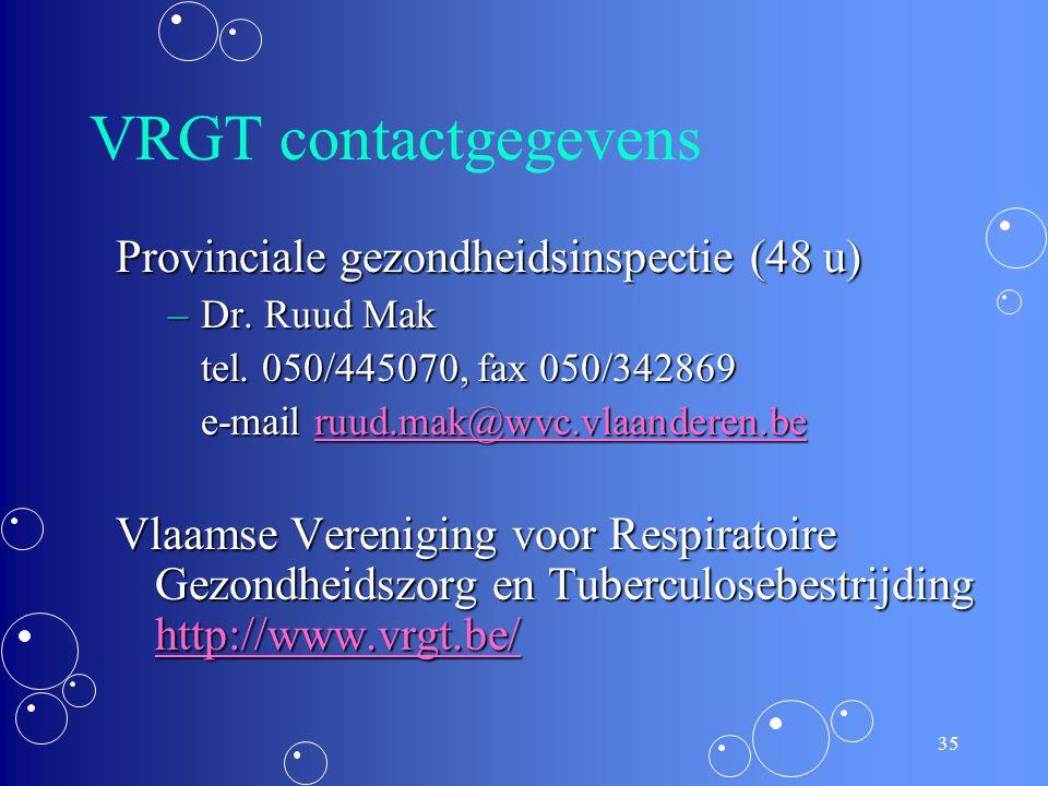 VRGT contactgegevens Provinciale gezondheidsinspectie (48 u)