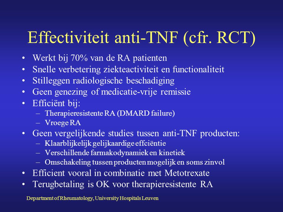 Effectiviteit anti-TNF (cfr. RCT)