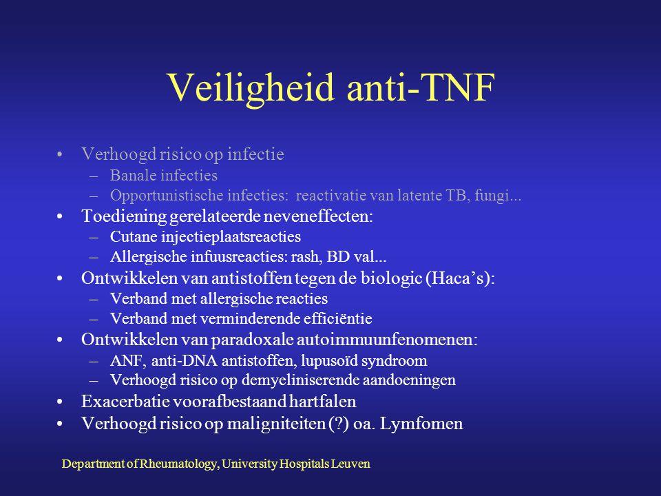 Veiligheid anti-TNF Verhoogd risico op infectie