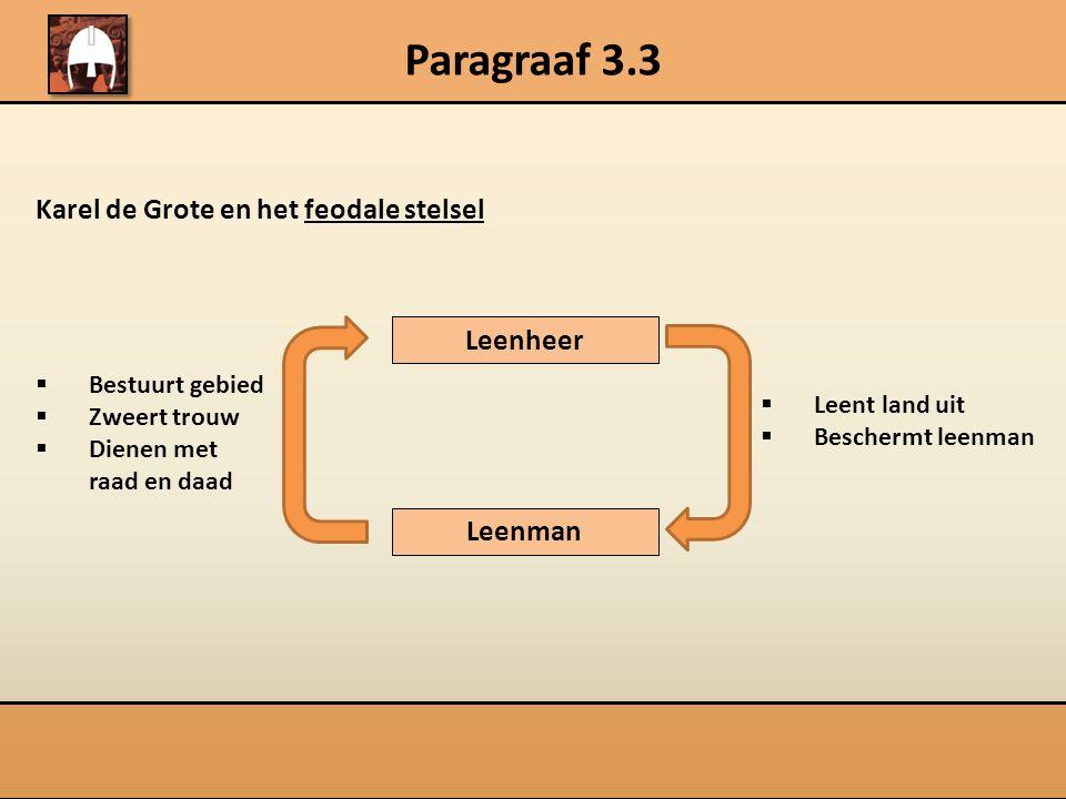 Paragraaf 3.3 Karel de Grote en het feodale stelsel Leenheer Leenman