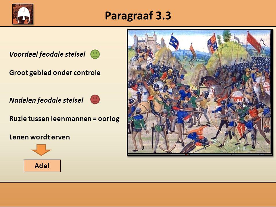 Paragraaf 3.3 Voordeel feodale stelsel Groot gebied onder controle