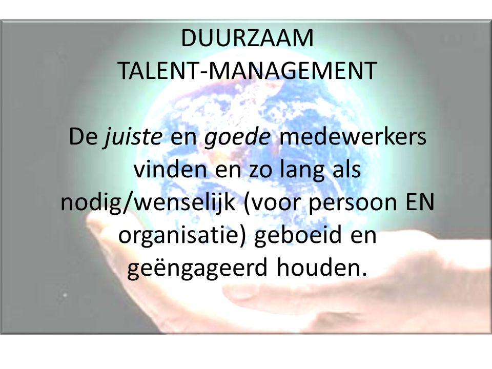 DUURZAAM TALENT-MANAGEMENT De juiste en goede medewerkers vinden en zo lang als nodig/wenselijk (voor persoon EN organisatie) geboeid en geëngageerd houden.