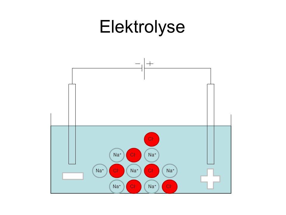 Elektrolyse Cl- Na+ Cl- Na+ Na+ Cl- Na+ Cl- Na+ Na+ Cl- Na+ Cl-
