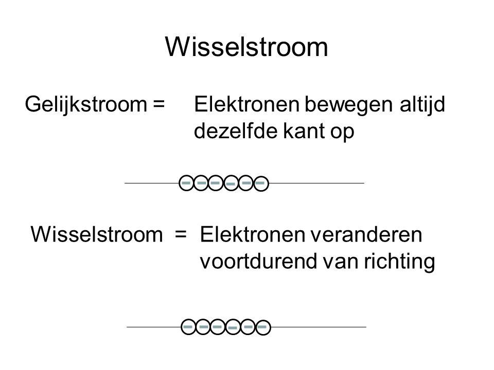 Wisselstroom Gelijkstroom = Elektronen bewegen altijd dezelfde kant op