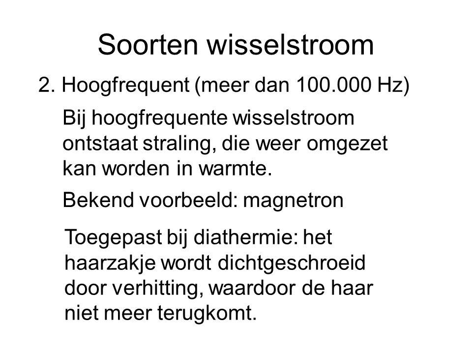 Soorten wisselstroom 2. Hoogfrequent (meer dan 100.000 Hz)